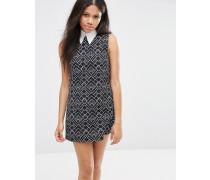 Megara Kleid in A-Form mit Deco-Print Schwarz