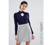 Gerippter, hoch geschlossener Pullover Marineblau