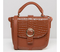 Glamourous Tasche in Krokolederoptik mit Schnalle Bronze