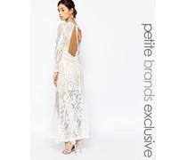 Maxi-Kleid aus hochwertiger Spitze mit Rückenauschnitt Weiß