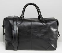 Reisetasche aus hochwertigem Leder in Schwarz Schwarz