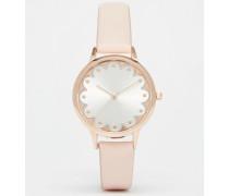 Uhr mit Bogenkante Cremeweiß