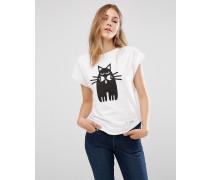 X Peter Jensen T-Shirt aus Bio-Baumwolle mit Katzen-Print Weiß