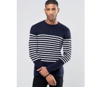 Marineblauer Pullover mit Breton-Streifen Marineblau