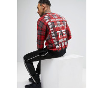 Sweatshirt mit Schottenmuster und rückwärtigem Druck Rot