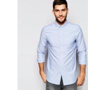 Oxfordhemd mit Jacquardmuster in klassischer, regulärer Passform Blau