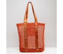 LIFESTYLE Shopper-Tasche mit Netz- und Webeinsätzen Orange