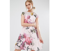 Citrus Bloom Ausgestelltes Mesh-Kleid Rosa
