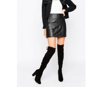 Sibyl Overknee-Stiefel bis zum Oberschenkel aus Wildleder mit Absatz Schwarz