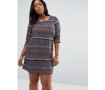 Plus Gemustertes Kleid Mehrfarbig