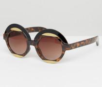 Runde Retro-Sonnenbrille Braun
