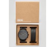Schwarze Uhr mit austauschbarem Armband Schwarz
