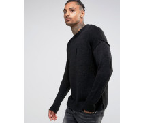 Pullover im Used-Look Schwarz