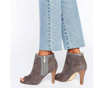 Peep Toe Heeled Ankle Boot Grau