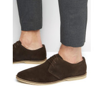 Derby-Schuhe aus braunem Wildleder mit Paspelierung Braun