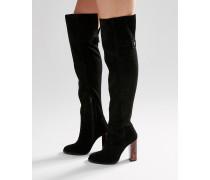 KEIRA Overknee-Stiefel aus Wildleder Schwarz