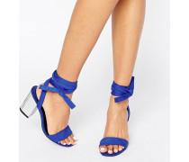 Sandalen mit Blockabsatz und geschnürter Fessel Blau