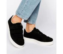 Siri Schwarze Sneaker aus Wildleder mit Klettverschluss Schwarz