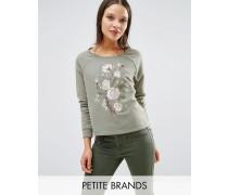 Bestickter Sweatshirt-Pullover Grün