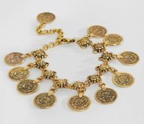 Fußkettchen mit Münzanhängern Gold