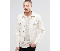 Nudie Billy Jeansjacke aus Twill in Ecru Weiß