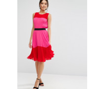 Plissiertes Kleid in Blockfarben Mehrfarbig
