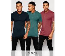 Muskel-Poloshirt aus Jersey in Marine/Burgunderrot/Petrol, 3er-Pack, 20% RABATT Mehrfarbig