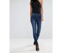 Lift & Shape Jeans mit ungesäumtem Stufensaum Blau