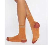 Gerippte Socken in Metallic Orange