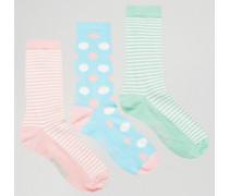 Socken mit Streifenmuster im 3er-Pack Mehrfarbig