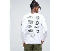 Langärmeliges T-Shirt mit Mechanics-Print Weiß
