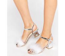 Truffle Sandalen mit mittelhohem Blockabsatz und Kunstfedern Silber