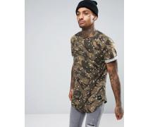 T-Shirt mit Military-Muster und Farbklecks-Design Grün