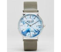 Uhr mit marmoriertem Armband in Grau Grau