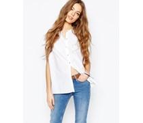 M.i.h. Jeans Ärmelloses Hemd mit Knopfleiste und plissierter Rückseite Weiß