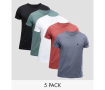 5er Pack T-Shirts mit Logo, 15% RABATT Mehrfarbig