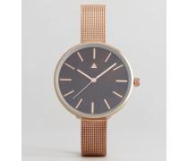 Armbanduhr mit roségoldenem Netzband und schokoladenbraunem Zifferblatt Kupfer