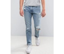 Skinny Jeans in heller Used-Waschung mit Rissen Blau