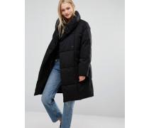 Wattierter Oversize-Mantel Schwarz