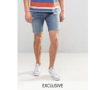 """505C Schmale Shorts in """"Great Big Bad""""-Waschung mit orangefarbenem Schild Blau"""