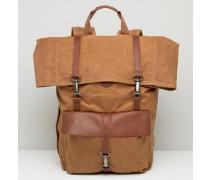 Rucksack aus gewachstem Canvas Braun