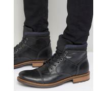 Onerillan Leather Shearling boots Schwarz