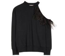 Baumwoll-Sweatshirt mit Straußenfedern