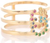 Ring aus 18kt Gelbgold mit Edelsteinen