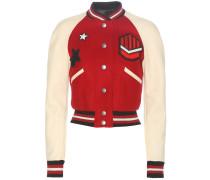 Verzierte College-Jacke aus einem Wollgemisch mit Lederbesatzco