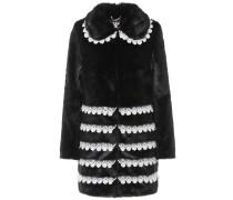 Mantel aus Faux Fur mit Spitzendetails