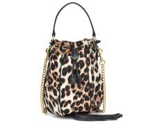 Bucket-Bag mit Lederdetails