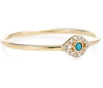 Ring Small Bezel Evil Eye aus 14kt Gelbgold mit Diamanten und Türkis