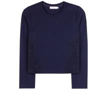 Sweater mit Spitzenbesatz