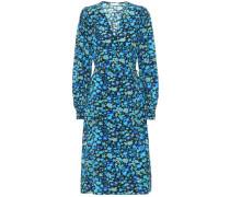 Bedrucktes Kleid mit Seidenanteil